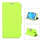Protective PU Leather Case w/ Card Holder Slot for Samsung Galaxy S4 i9500 - Green