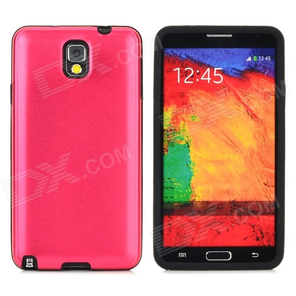 Protective Aluminum + Silicone Back Case for Samsung Galaxy Note 3 N9000 - Deep Pink + Black