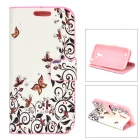 Butterfly Flower Pattern Crystal PU Leather Case for Samsung Galaxy S4 Mini - Black + White + Pink