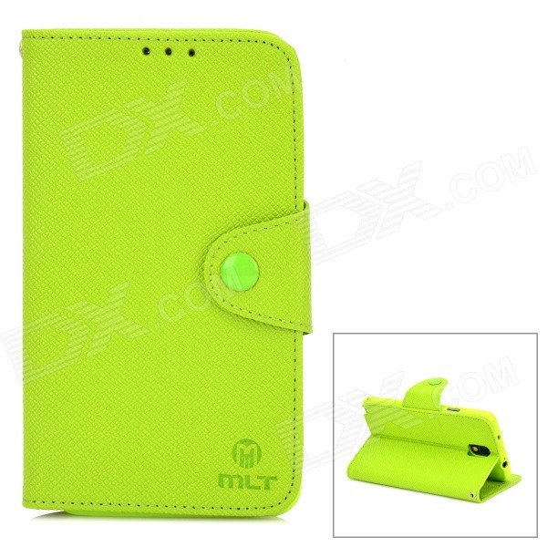 Protective PU Leather Case w/ Card Holder Slots for Samsung Galaxy Note 3 N9000 - Green protective flip open pu case w stand card slots strap for samsung galaxy note 3 n9000 white