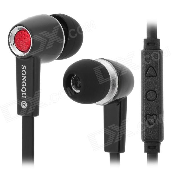 SONGQU SQ2017 Stylish In-Ear Earphones w/ Microphone for Iphone - Black + Red