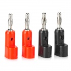 4mm Gun Style Plastic Banana Speaker Plugs Connector Set - Red + Black (4 PCS)