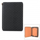 DMT Plaid Pattern Leather Zipper Bag w/ Stand for Ipad 2 / 3 / 4 - Black