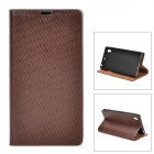 Stylish Protective Top Layer Cowhide Case for Sony L39h - Brown