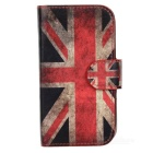 Protective UK Flag Pattern PU Leather Case for Samsung Galaxy S3 Mini i8190 - Red + Blue