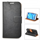 Protective PU Leather Case w/ Card Holder Slot for Samsung Galaxy S4 i9500 - Black