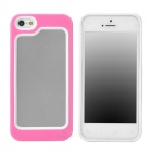 Stylish Protective Plastic + TPU Bumper Frame Case for Iphone 5 - Pink + White