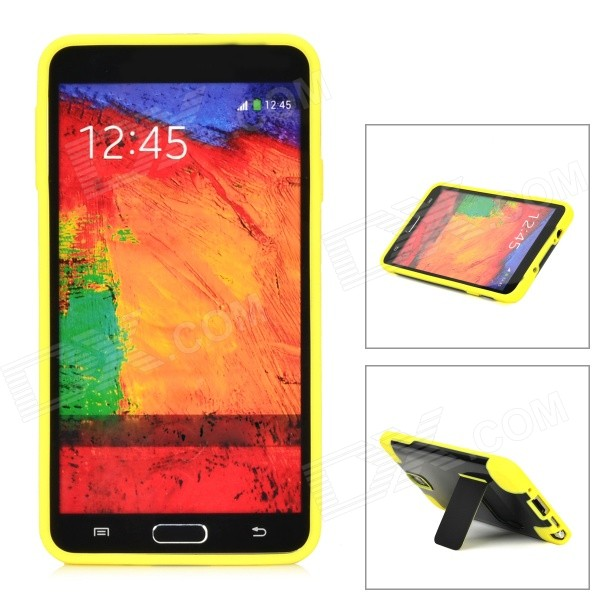 Stylish Protective Back Case w/ Stand for Samsung Galaxy Note 3 N9000 - Black + Yellow protective aluminum alloy pc back case for samsung galaxy note 3 n9000 more red black
