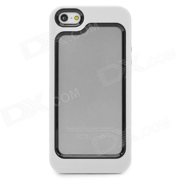 Stylish Protective Plastic + TPU Bumper Frame Case for Iphone 5 - White + Black stylish protective plastic bumper frame case for iphone 5c beige black