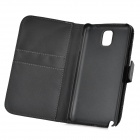 Protective PU Leather Case w/ Card Holder Slots for Samsung Galaxy Note 3 N9000 - Black