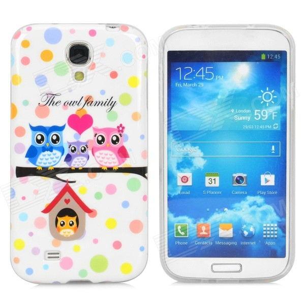 Cute Owl Family Style Protective Silicone Back Case for Samsung Galaxy S4 i9500 - White + Multicolor protective cute spots pattern back case for samsung galaxy s4 i9500 multicolored