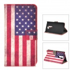 US National Flag Style Protective PU Leather Case for  LG G2 - Red + White + Blue