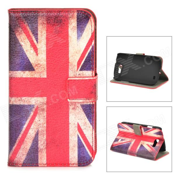 Protective UK Flag Pattern PU Leather Case for Samsung Galaxy Express i8730 - White + Red + Blue protective frosted abs back case for samsung galaxy express i8730 white