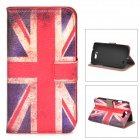 Protective UK Flag Pattern PU Leather Case for Samsung Galaxy Express i8730 - White + Red + Blue