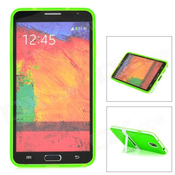 Protective Silicone Back Case w/ Stand for Samsung Galaxy Note 3 - Translucent Green + White enkay protective tpu back case w holder stand for samsung galaxy note 3 n9000 pink