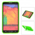 Protective Silicone Back Case w/ Stand for Samsung Galaxy Note 3 - Translucent Green + White