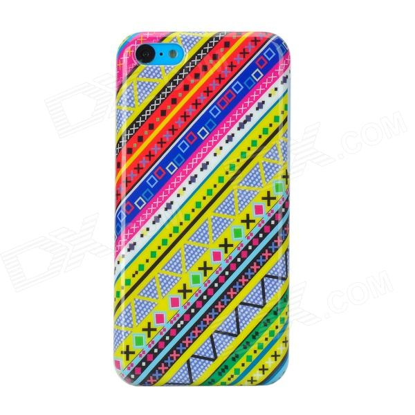 Stylish Patterned Plastic Back Case for Iphone 5C - Multicolored fashionable colorful strip patterned protective plastic back case for iphone 5 multicolored