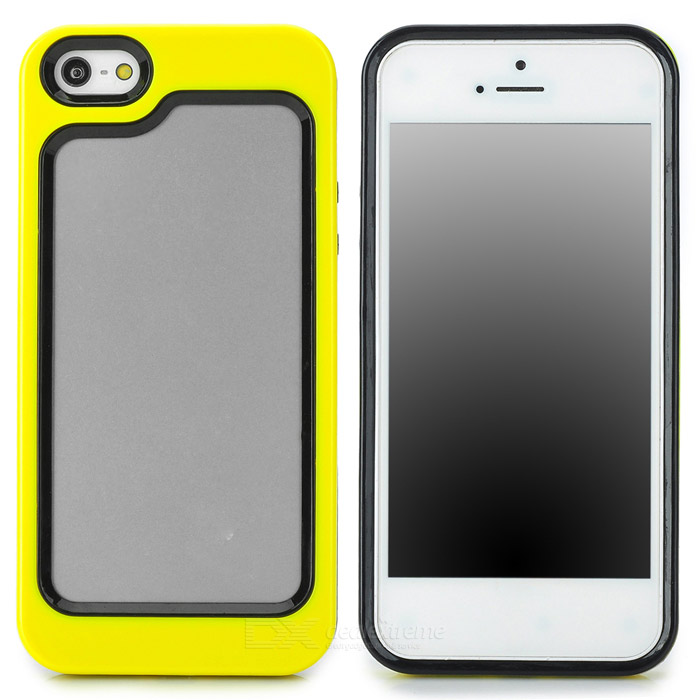 Stylish Protective Plastic + TPU Bumper Frame Case for Iphone 5 - Yellow + Black stylish protective plastic bumper frame case for iphone 5c beige black