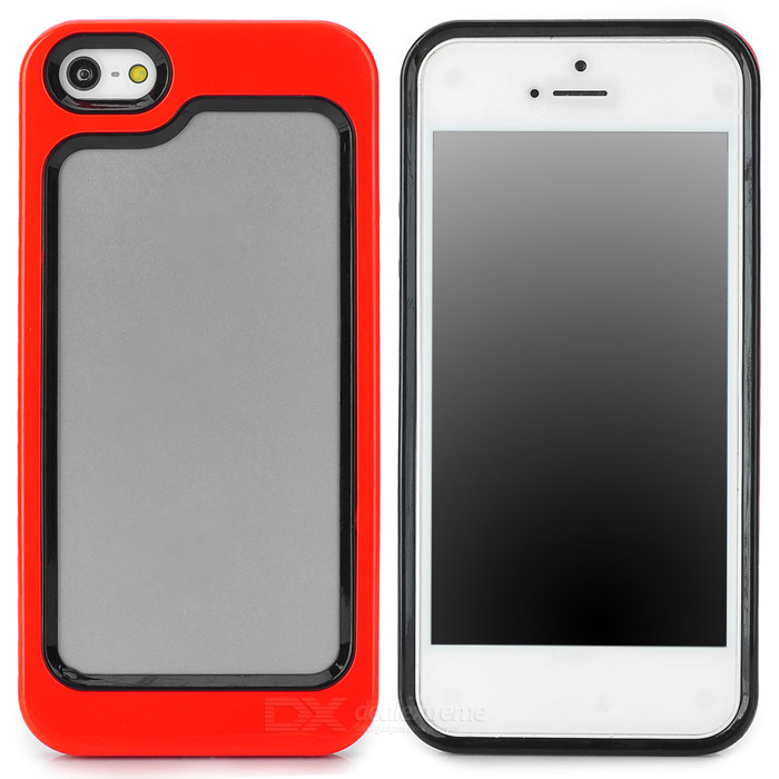 Stylish Protective Plastic + TPU Bumper Frame Case for Iphone 5 - Red + Black stylish protective plastic bumper frame case for iphone 5c beige black