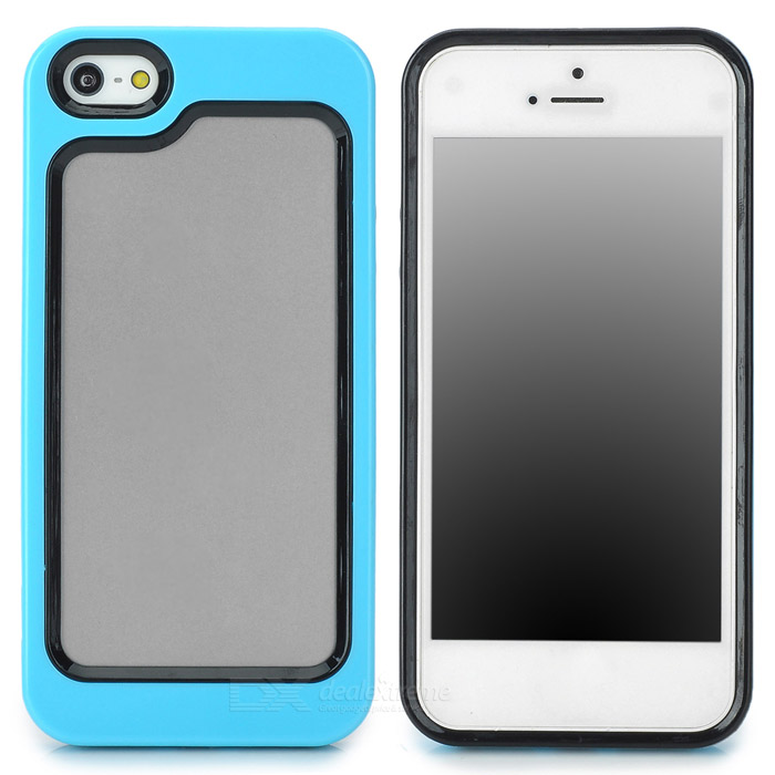 Stylish Protective Plastic + TPU Bumper Frame Case for Iphone 5 - Blue + Black stylish protective plastic bumper frame case for iphone 5c beige black