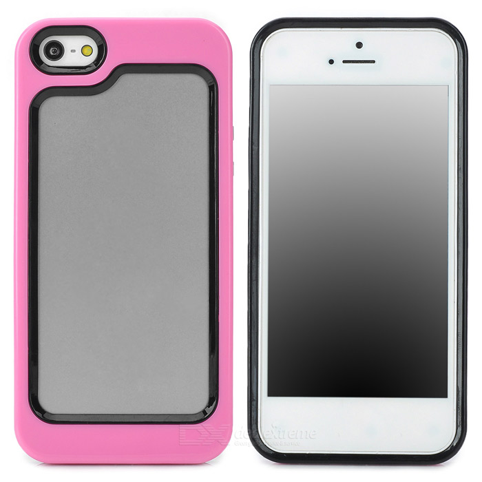 Stylish Protective Plastic + TPU Bumper Frame Case for Iphone 5 - Pink + Black stylish protective plastic bumper frame case for iphone 5c beige black