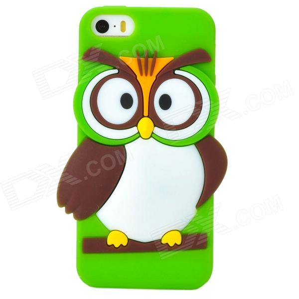Cute Cartoon Owl Style Silicone Back Case for Iphone 5 / 5s - Green ziqiao cute cartoon cat style protective soft silicone back case for iphone 4 4s mint green