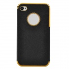 Stylish Durable PU Coating ABS Back Case for Iphone 4 / 4s - Black + Silver