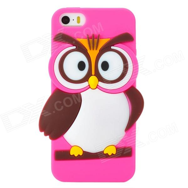 Cute Cartoon Owl Style Silicone Back Case for Iphone 5 / 5s - Deep Pink ac110v ac220v dc12v dc24v motor driven air raid siren metal horn for industry boat alarm ms 390
