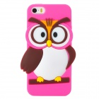 Cute Cartoon Owl Style Silicone Back Case for Iphone 5 / 5s - Deep Pink