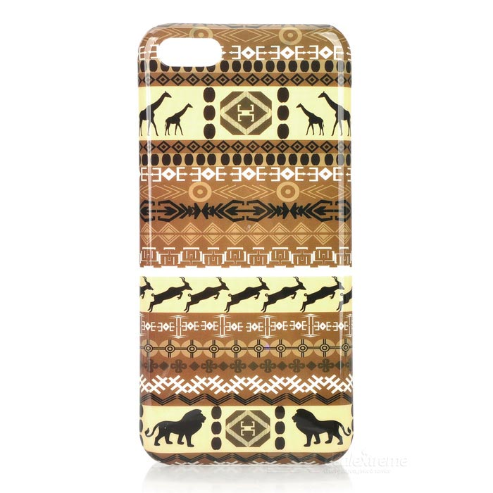 Stylish Tribal Pattern Plastic Back Case for Iphone 5C - Brown stylish snakeskin pattern plastic back case for iphone 5 brown