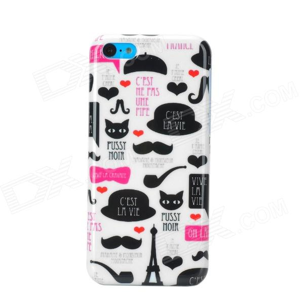 Stylish Cartoon Patterned Plastic Back Case for Iphone 5C - White + Black top lcd iphone 5c