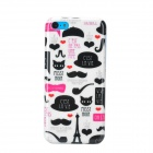 Stylish Cartoon Patterned Plastic Back Case for Iphone 5C - White + Black