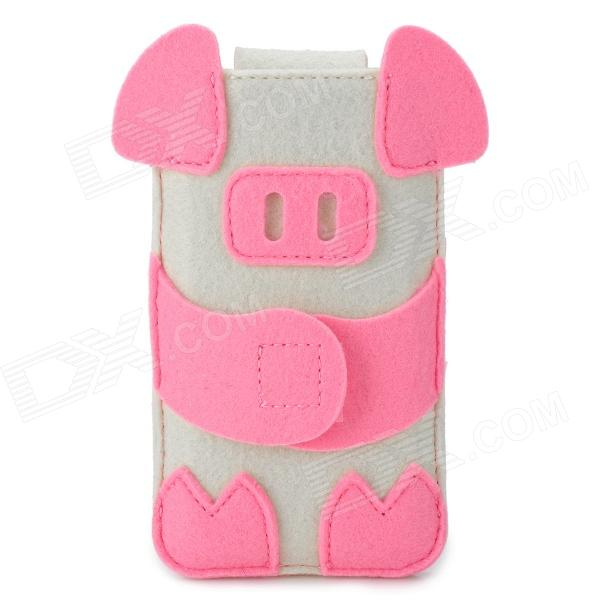 BUBM Cartoon Piggy Style Felt Fabric Case for Iphone 4 / 5 / 5c / 5s - Pink + White