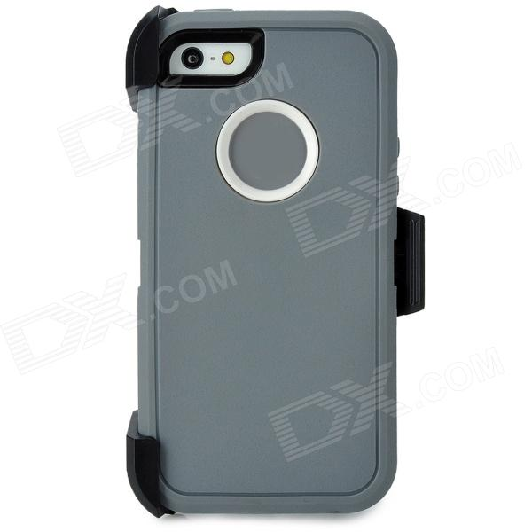 Durable Triple Protection TPU + PC Case w/ Back Clip for Iphone 5 - Grey + Black