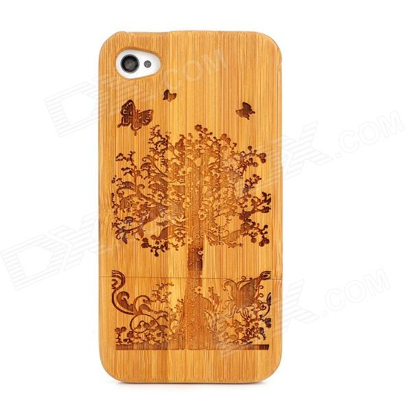Detachable Tree Pattern Protective Back Case for Iphone 4 / 4s - Wood + Black