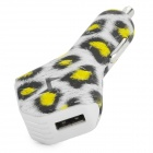 BW-1 Convenient Universal Leopard Print Dual Female USB Output Car Charger - White + Black + Yellow