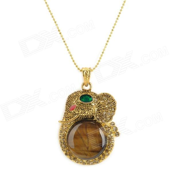 Tiger's Eye Copper Elephant Pendant Necklace elephant head pendant necklace bronze 69cm length