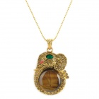 Tiger's Eye Copper Elephant Pendant Necklace
