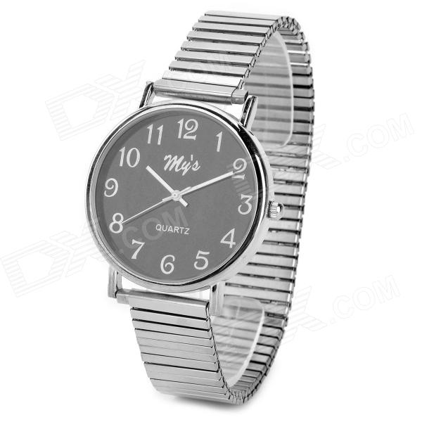 BIS-62 Round Dial Analog Quartz Wrist Watch for Men - Silver + Black