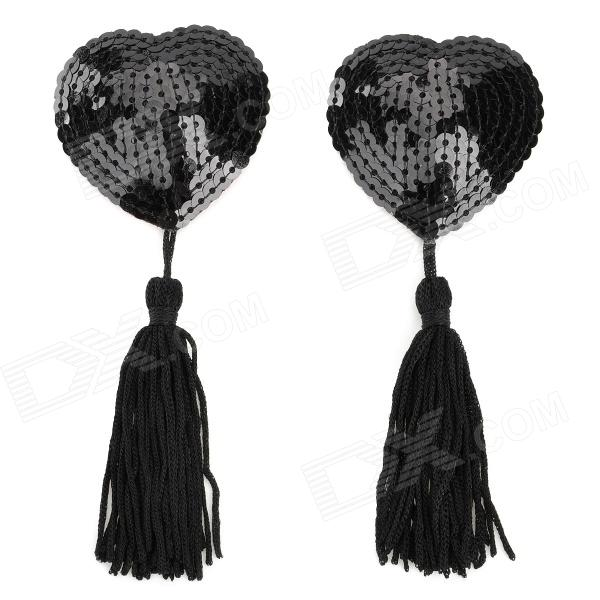 Heart Style Sequin Women's Tassels Nipple Sticker Pasties - Black (2 PCS)