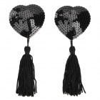 Heart Style Sequin Tassels para mulheres Pepping Sticker Pasties - Black (2 PCS)