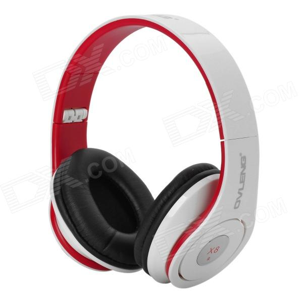 Ovleng X8 Stereo Foldable Headphone Headset w/ Microphone / Cable Control - White + Red (3.5mm) stylish headset w microphone volume control for dell mini 5 streak 3 5mm jack 120cm cable