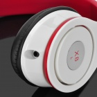 Ovleng X8 Stereo Foldable Headphone Headset w/ Microphone / Cable Control - White + Red (3.5mm)