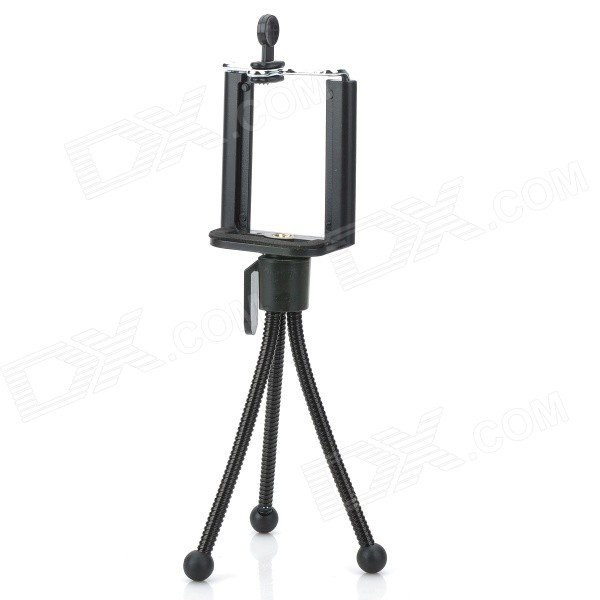 Rotatable Mini Adjustable PP + Stainless Steel Tripod Holder Stand for Camera / Mobile Phone - Black universal swivel tripod stand holder for cell phone camera black