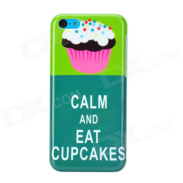 Cartoon Cupcake Pattern Plastic Back Case for Iphone 5C - Green + White for iphone 7 plus 5 5 inch glossy tpu cellphone case with cartoon pattern bunny