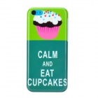 Cartoon Cupcake Pattern Plastic Back Case for Iphone 5C - Green + White