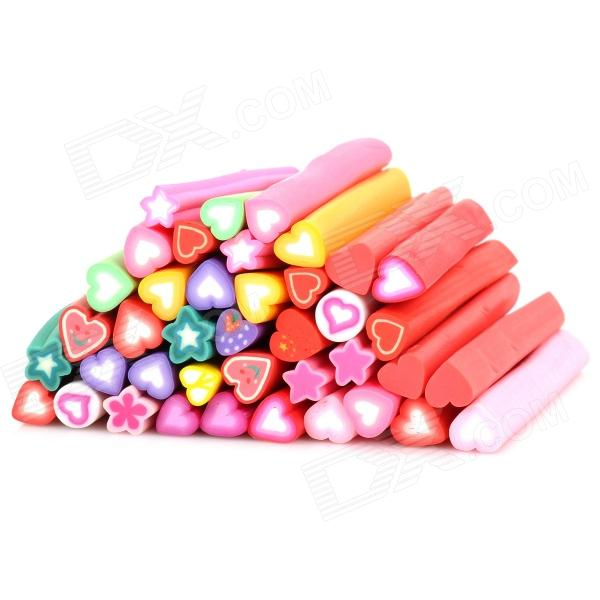 KQH036-5 40-in-1 3D Heart Pattern DIY Polymer Clay Decoration Stick Set - Multicolored