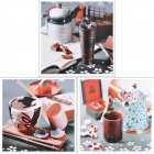 001 Fashion Tableware Pattern Wall Decorative Art Picture Painting - Black + Red (3 PCS)