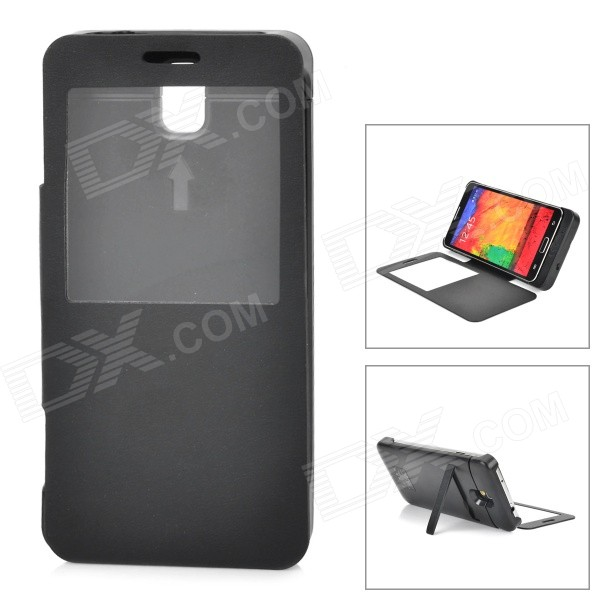 5500mAh External Battery Charger w/ Display Window Case for Samsung Galaxy Note 3 N9000 - Black