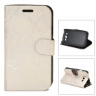 Flower Show Protective PU Leather Case for Samsung Galaxy Grand DUOS / i9082 - Silver